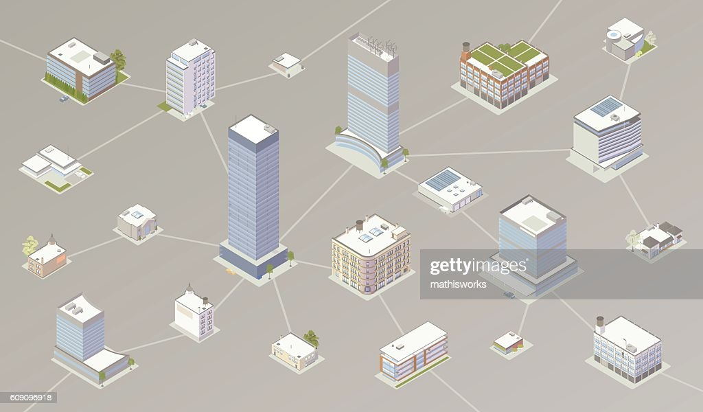Network of businesses illustration