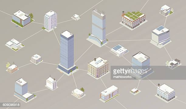 network of businesses illustration - mathisworks architecture stock illustrations