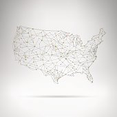 USA network outline map in grey room
