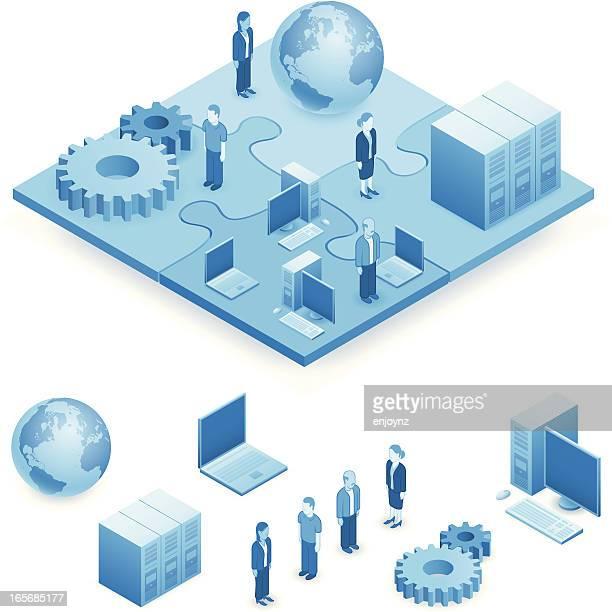 illustrazioni stock, clip art, cartoni animati e icone di tendenza di puzzle di rete - supporto tecnico