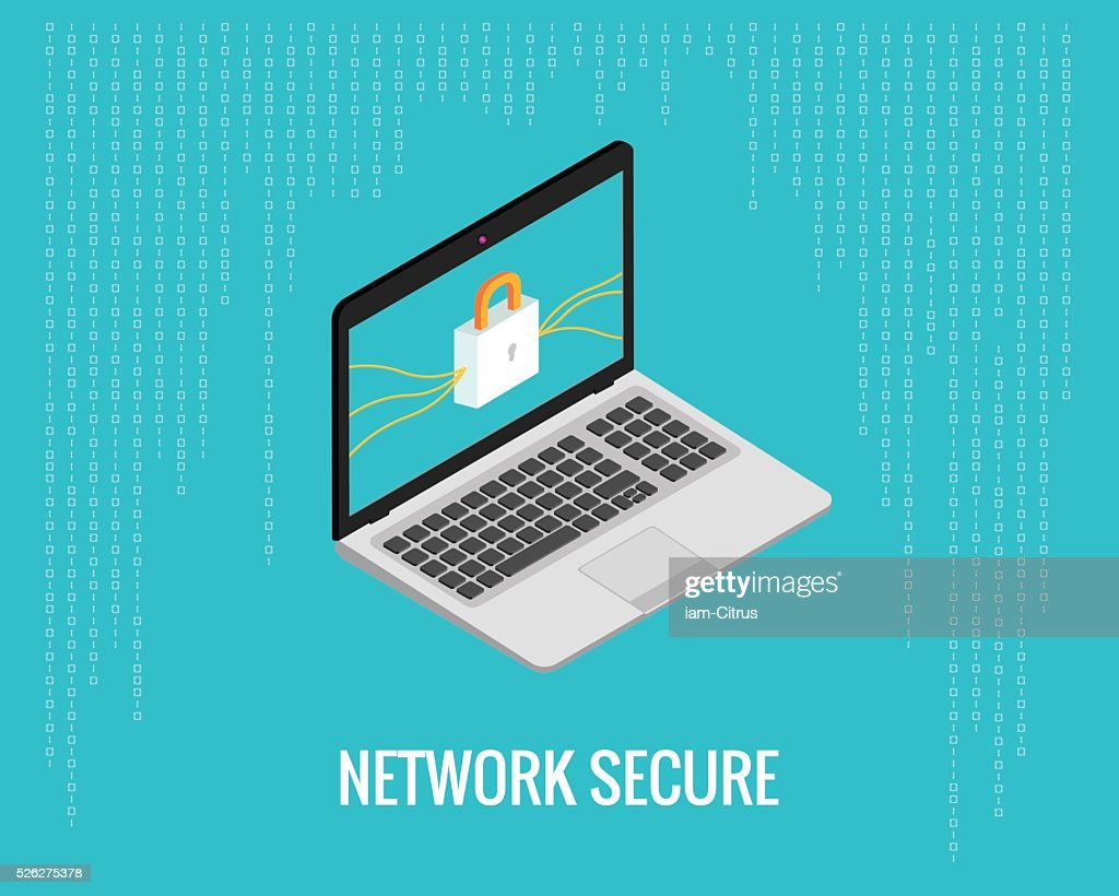 network secure illustration with laptop and lock
