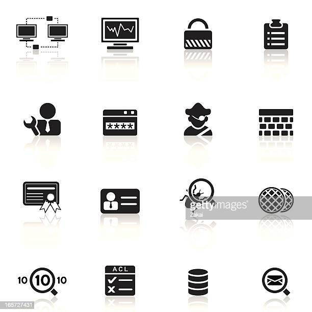 network security and monitor | simple collection - security pass stock illustrations, clip art, cartoons, & icons