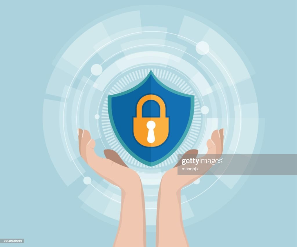 network security concept human hand with shield