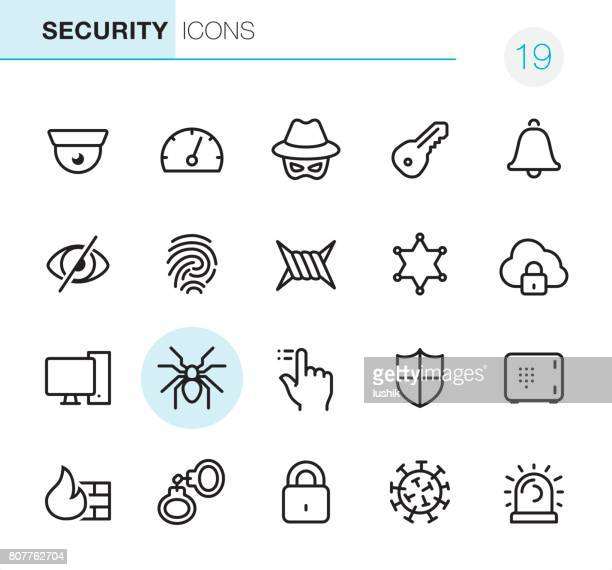 network security - pixel perfect icons - identity theft stock illustrations