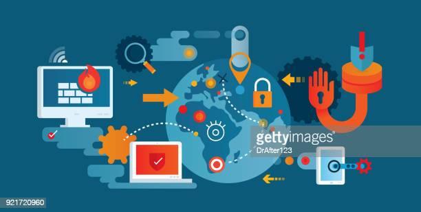 ilustrações, clipart, desenhos animados e ícones de segurança de rede - crime