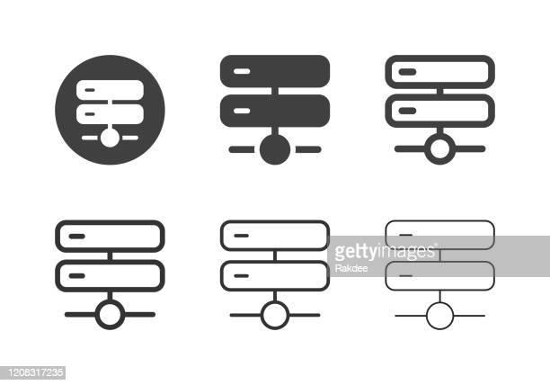 netzwerkserversymbole - multi-serie - organizer stock-grafiken, -clipart, -cartoons und -symbole
