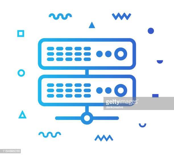 bildbanksillustrationer, clip art samt tecknat material och ikoner med ikon design för nätverks server linje stil - sponsra