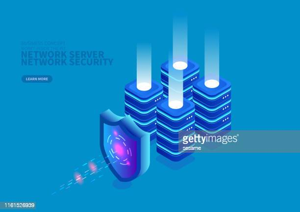 network services and network security - shield stock illustrations