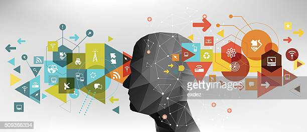 network technology ideas - contemplation stock illustrations, clip art, cartoons, & icons