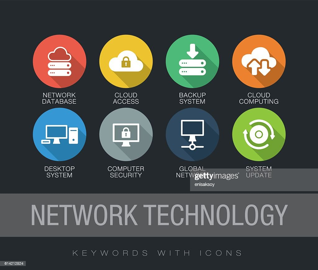 Network Technology keywords with icons : stock illustration