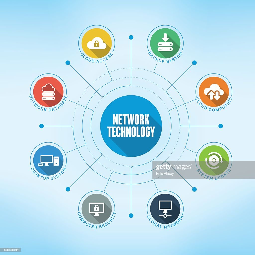 アイコン付きネットワーク テクノロジー キーワード : ストックイラストレーション