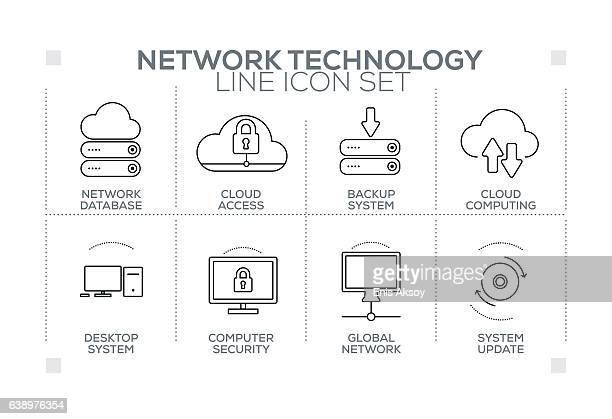 モノクロのラインアイコンを含むネットワークテクノロジーキーワード - バックアップ点のイラスト素材/クリップアート素材/マンガ素材/アイコン素材