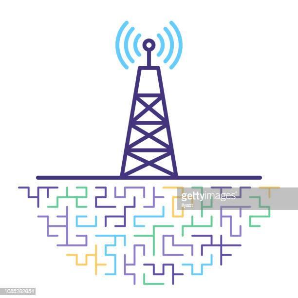 5g technologie linie symbol netzdarstellung - antenne stock-grafiken, -clipart, -cartoons und -symbole