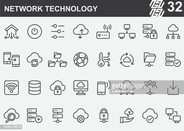ネットワーク テクノロジー ライン アイコン - バックアップ点のイラスト素材/クリップアート素材/マンガ素材/アイコン素材