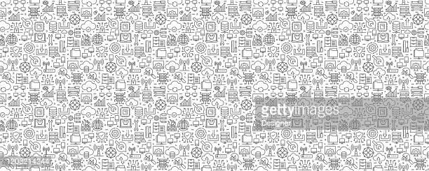 network technology seamless pattern and background with line icons - computer bug stock illustrations