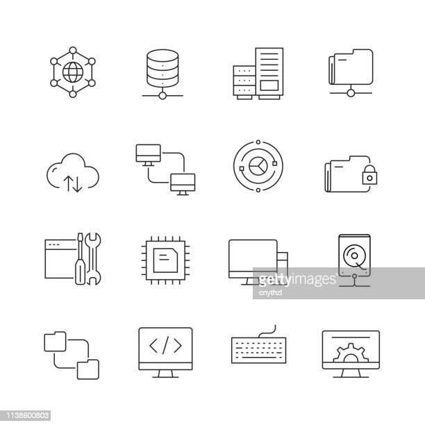 network technology - set of thin line vector icons - digital display stock illustrations