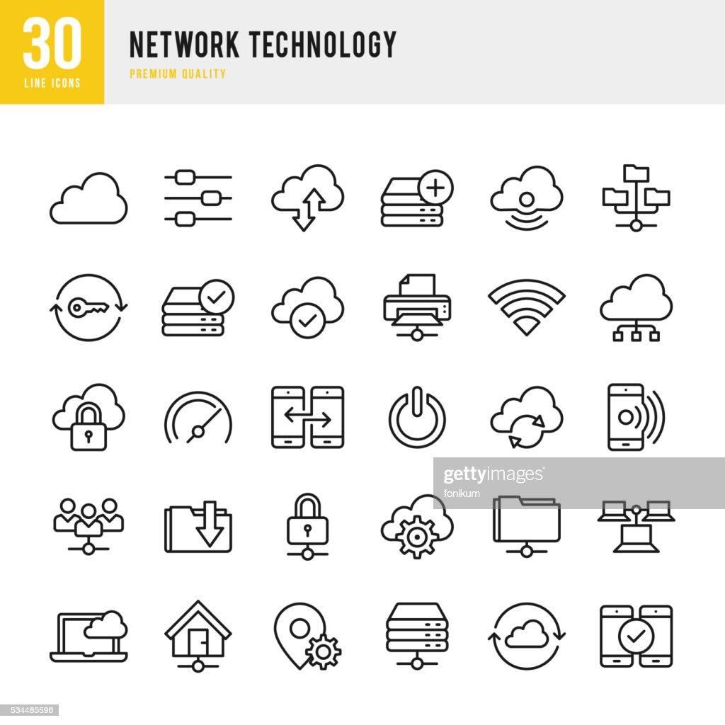 Rede tecnologia-fina linha Conjunto de ícones : Ilustração