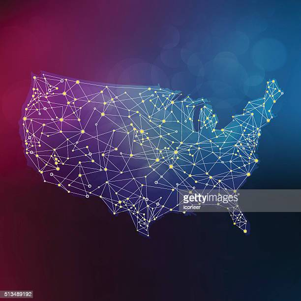 Network USA map with connections on a multicolored background