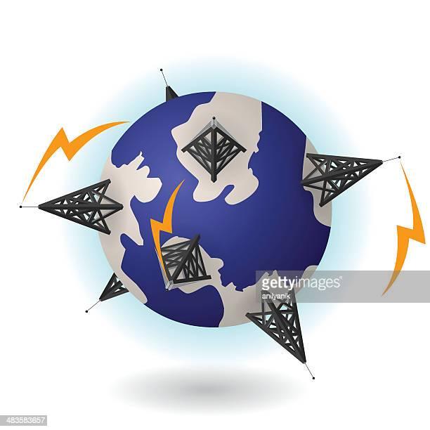 network - antenna aerial stock illustrations, clip art, cartoons, & icons
