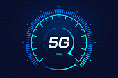 5G network wireless technology. Digital speed meter concept with 5G icon. High speed internet. Neon speedometer in futuristic style isolated on dark background. Car dashboard interface. Vector eps 10.