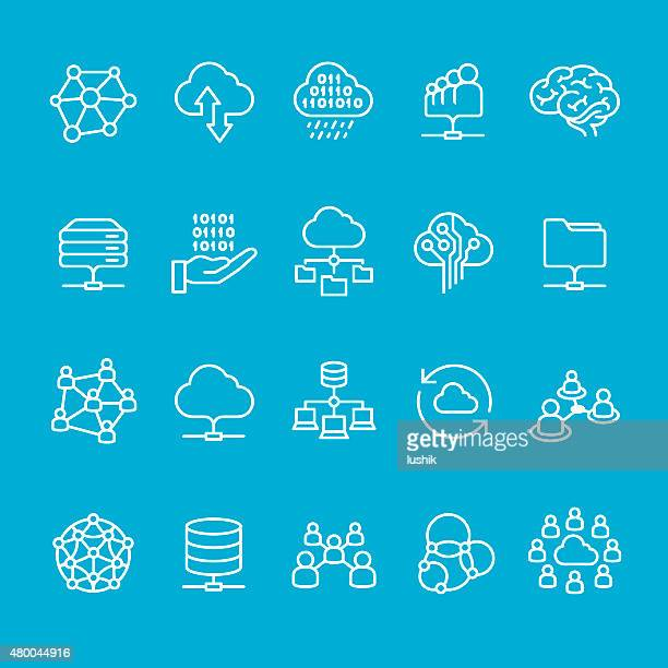 networking and cloud computing icons collection - stoking stock illustrations