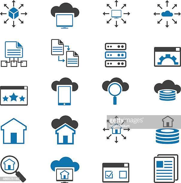 stockillustraties, clipart, cartoons en iconen met networking icon set - vpn
