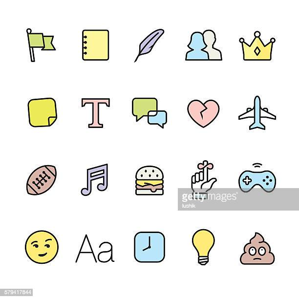 Networking pack - outline color vector icons