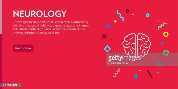 neurology concept. geometric pop art and retro style web banner and poster concept with human brain icon. - condition stock illustrations