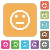 Neutral emoticon rounded square flat icons