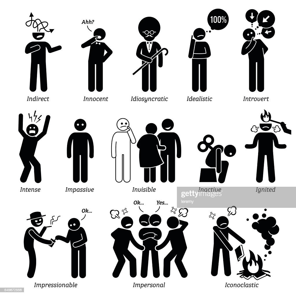 Neutral Personalities Character Traits. Stick Figures Man Icons.