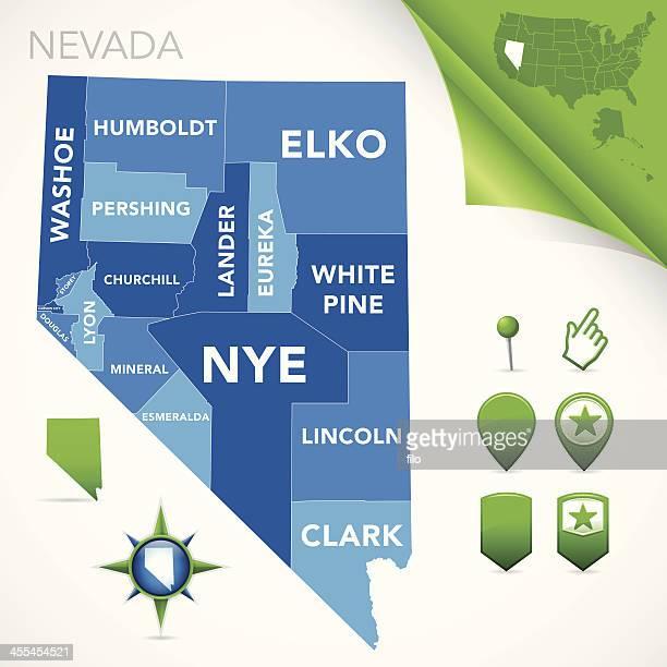 nevada county map - nevada stock illustrations