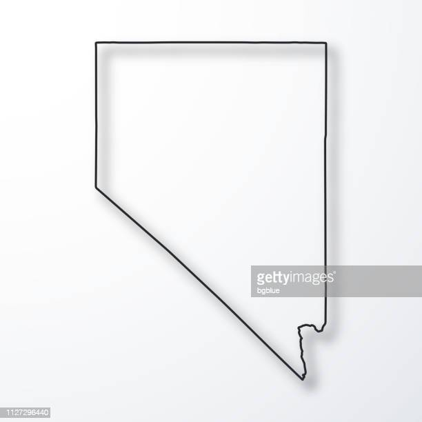 nevada map - black outline with shadow on white background - nevada stock illustrations