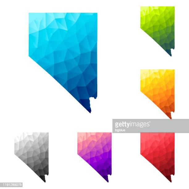 nevada map in low poly style - colorful polygonal geometric design - nevada stock illustrations