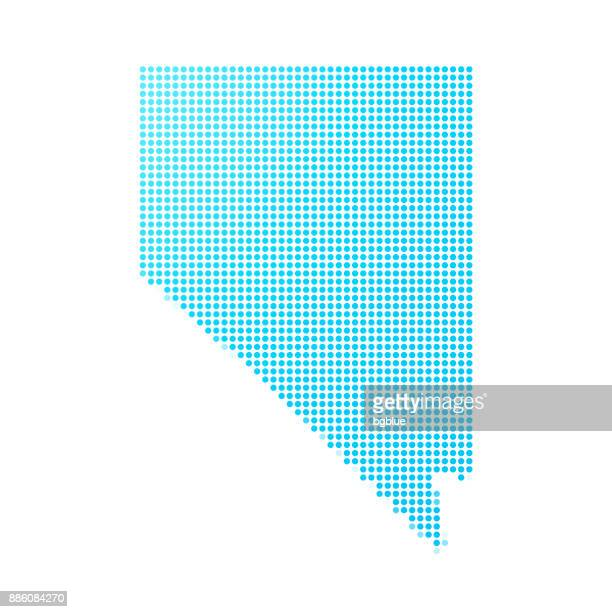 nevada map of blue dots on white background - nevada stock illustrations