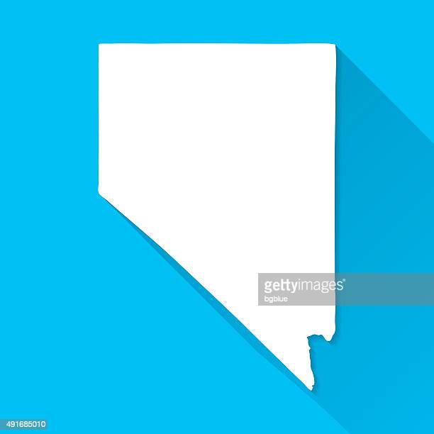 nevada map on blue background, long shadow, flat design - nevada stock illustrations