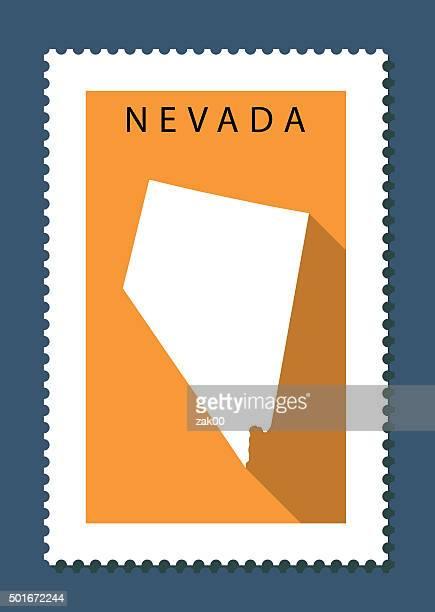 nevada map on orange background, long shadow, flat design,stamp - nevada stock illustrations
