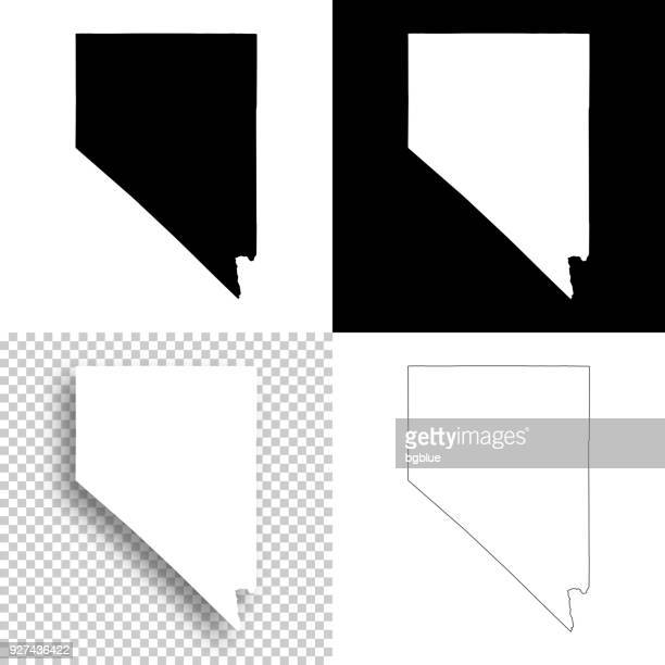 nevada maps for design - blank, white and black backgrounds - nevada stock illustrations