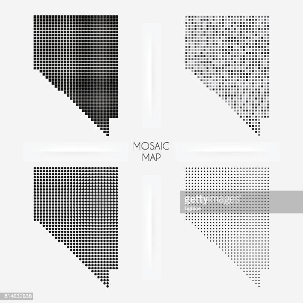 nevada maps - mosaic squarred and dotted - nevada stock illustrations