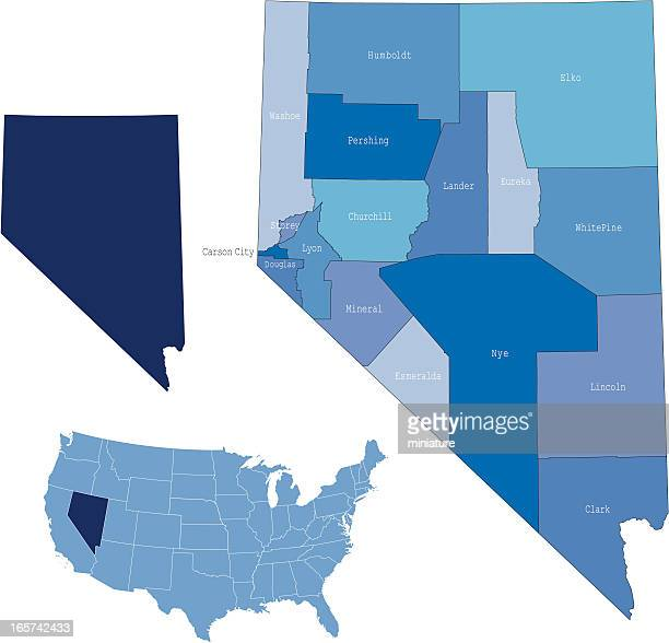 nevada state & counties map - nevada stock illustrations