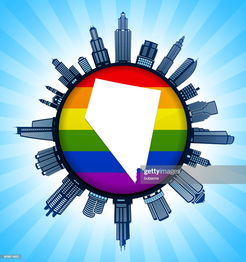 Nevada State Map auf Gay Pride Stadt Skyline Hintergrund : Stock-Illustration