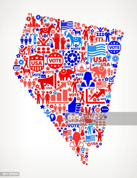 nevada vote and elections usa patriotic icon pattern - nevada stock illustrations