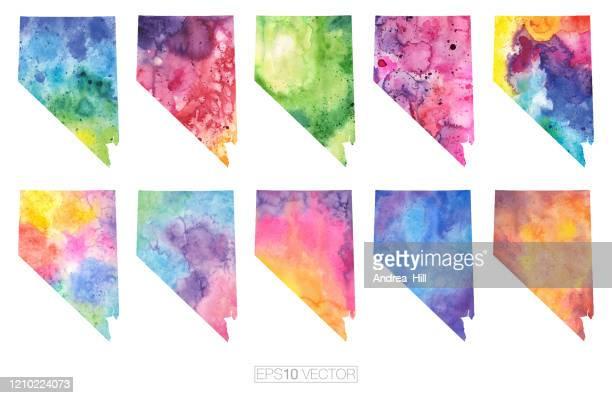 nevada watercolor vector map illustration set - nevada stock illustrations
