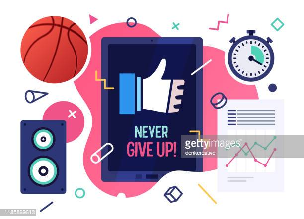 never give up! vector illustration banner design - try scoring stock illustrations