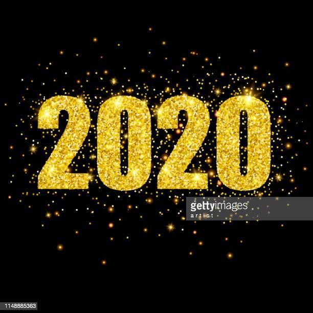 stockillustraties, clipart, cartoons en iconen met nieuwe 2020 jaar wenskaart. - nieuwjaar