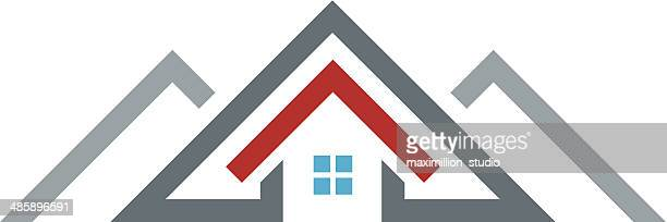 60 top roof stock illustrations clip art cartoons - Icon exterior building solutions ...
