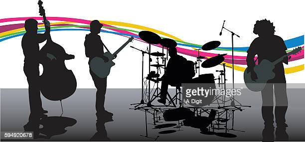 new age rock band music - jazz stock illustrations, clip art, cartoons, & icons