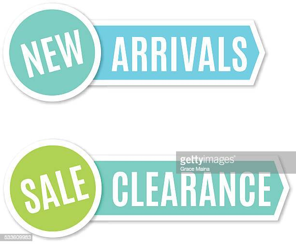new arrivals and clearance sign - vector - new stock illustrations