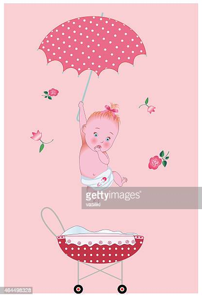 New baby girl is coming from sky with un umbrella