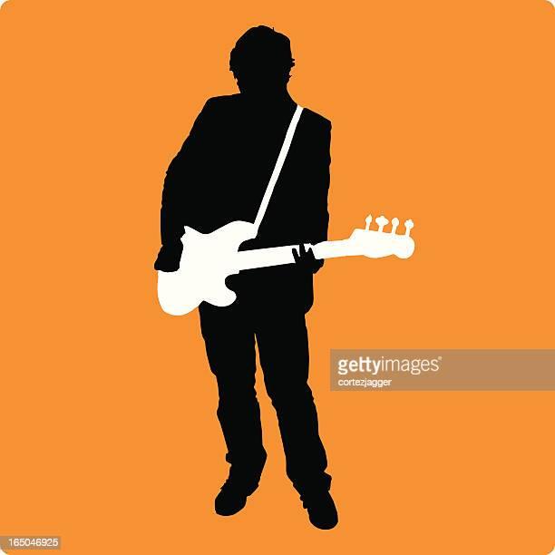 new bassist silhouette (vector illustration) - bass instrument stock illustrations, clip art, cartoons, & icons