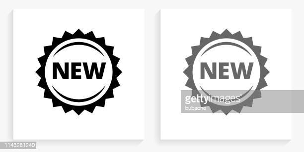 new black and white square icon - new stock illustrations